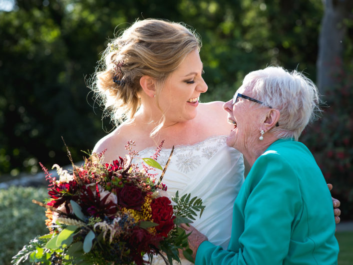 Photograph of Lianne and her gran at Lympne castle wedding in Kent