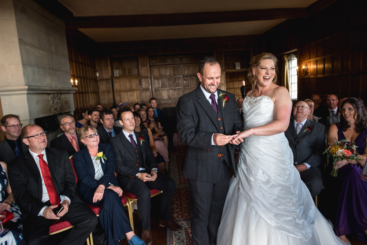 Photograph of John and Lianne during their wedding at Lympne Castle in Kent